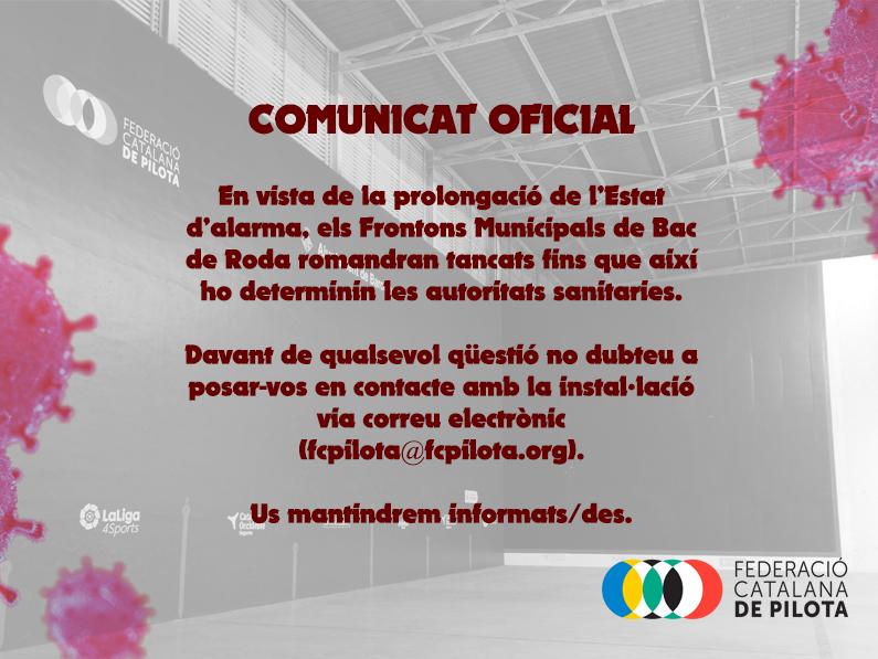 COMUNICAT OFICIAL – FRONTONS BAC DE RODA