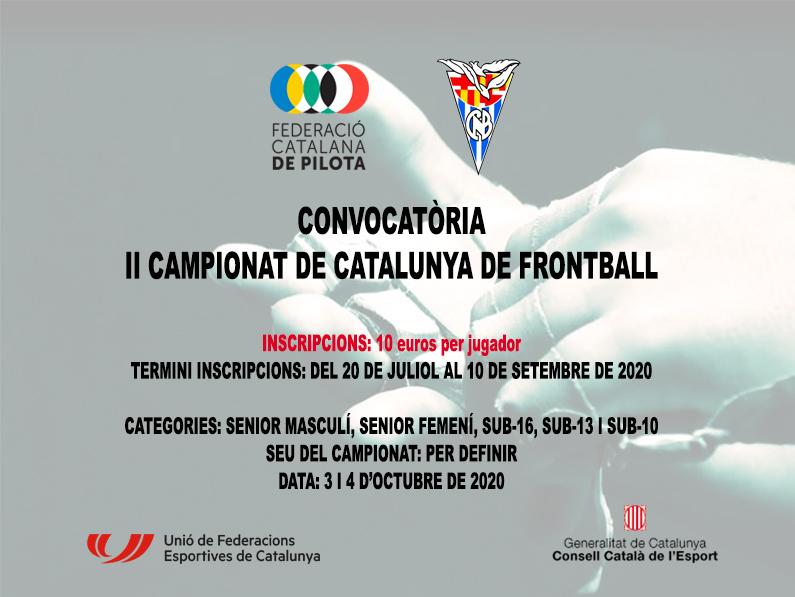 Convocatòria II Campionat de Catalunya de Frontball 2020
